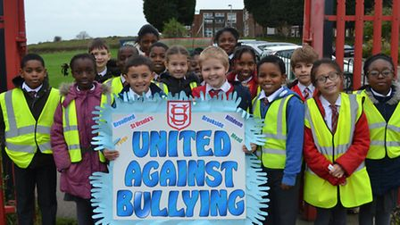 Harold Hill pupils anti-bullying march - students from St Ursula's school