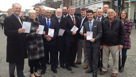 Politicians campaigning in Romford Market