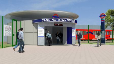 Artist's impression of the proposed new Rotunda entrance at Canning Town station