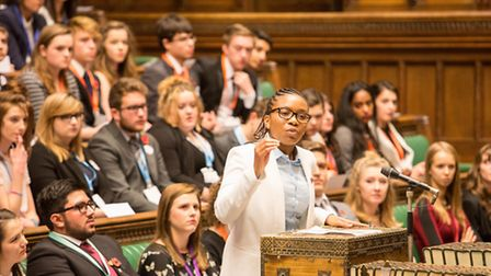 Bridget Okhioigbe in the Youth Parliament in Westminster