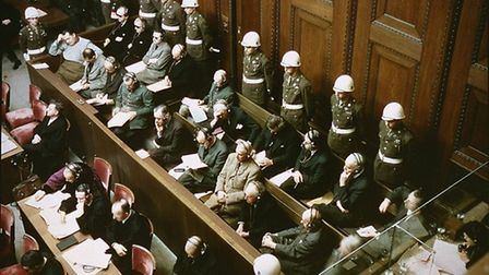 Defendants in the dock at the Nuremberg trials. Picture: National Archives, courtesy of USHMM photo