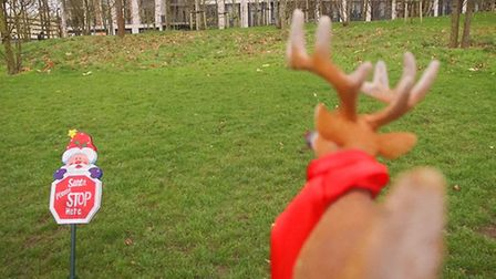 Rudolph spots the Santa stop here sign and comes in to land