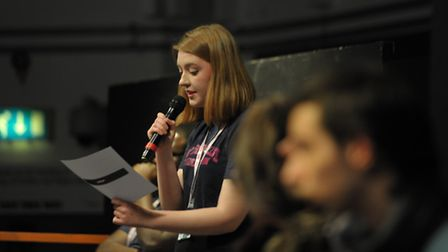 Audience member, Lucy Mason president of Havering College's student union fires a question at the Ha