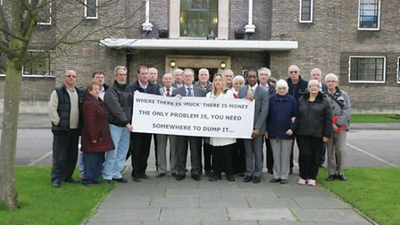 Residents and councillors, who oppose the Ingrebourne Hill plans, staged a protest outside Romford T