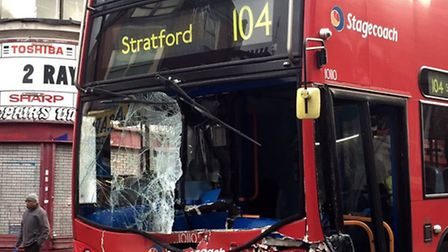 The 104 bus to Stratford crashed into a lorry outside Upton Park station on Monday. Photo: @RichardT