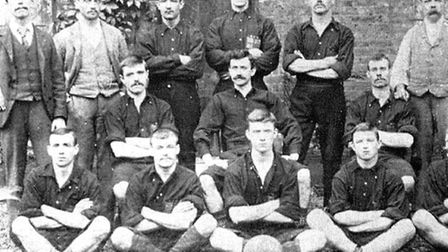 Thames Ironworks FC line up for a photo call in the club's inaugural season