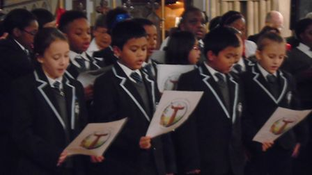 Pupils joined Newham Super Choir in the Christmas performance Picture: Newham Super Choir