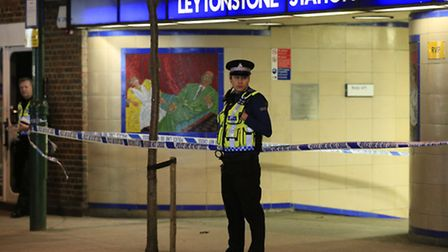 Police cordon off Leytonstone Underground Station in east London following a stabbing incident. Phot