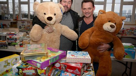 Perry Fenwick and Ricky Grover from EastEnders supporting the Christmas Toy Appeal