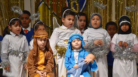 Mary and Joseph with baby Jesus at Cleves Primary School Nativity