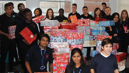 Newham College students with their shoeboxes