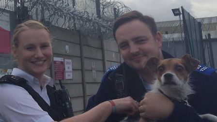 PCSO Josh Thurlow and PC Holly Hoare with Ralph