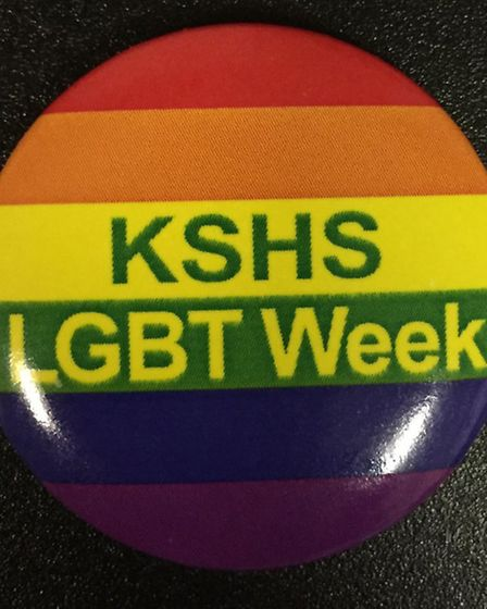 Rainbow badges given out at King Solomon High School for LGBT week. Picture: @kingsolomonhigh