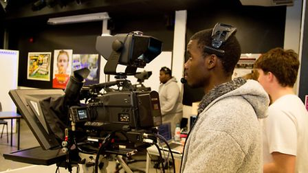 Students on Havering Asks set with camera equipment at Havering College. Picture Havering College