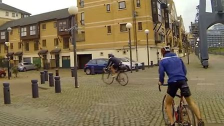 James and Noel on their bikes in the Royal Docks