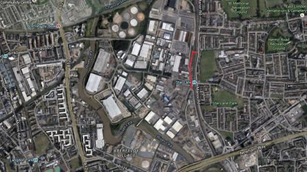 A view from above showing Stephenson Street marked out in red. Picture: Google Maps