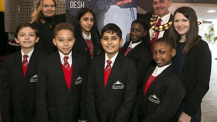 Colegrave Primary School pupils with Sir Robin Wales at Stratford Circus for the Every Child a Theat
