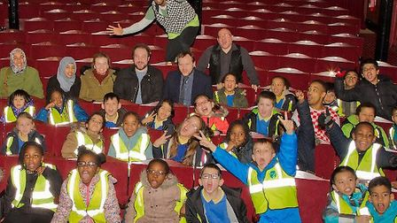 Students from Britannia Village Primary School meet the cast of Robin Hood at Theatre Royal Stratfor