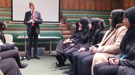 MP Stephen Timms talks to pupils from Newham Collegiate Sixth Form