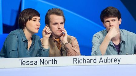 Richard, centre, and his Only Connect team (picture: BBC/Zodiak/Patrick Olner)