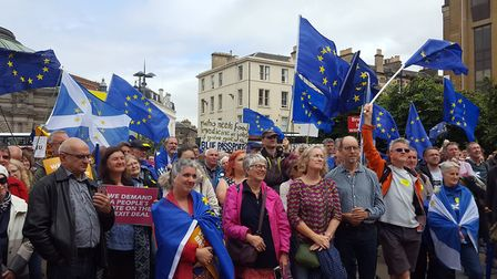 People's Vote rally in Edinburgh. Photograph: Hilary Duncanson/PA Wire
