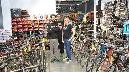 Hussain Ali, Adam Henry and Becky Finnemore at Pave Velo bike shop