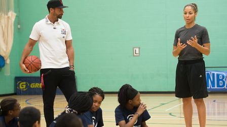 Rio Ferdinand and Allison Feaster speak to the students (picture: C1 Photography)