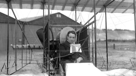 "Aviator Thomas ""Tommy"" Sopwith in the Howard-Wright biplane that took him across the Channel and won"