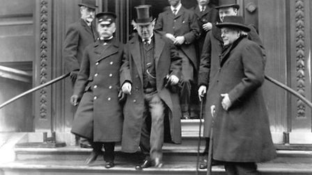 Ex Prime Minister Herbert Henry Asquith leaving a meeting at the Reform Club, from which de Forest w