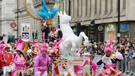 Performers take part in the London New Year's Day Parade.