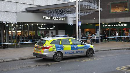 Police cordon off the entrance to Stratford centre following an assault
