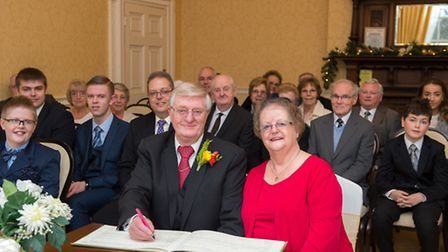 Family and friends joined the couple on the 50th anniversary of their wedding