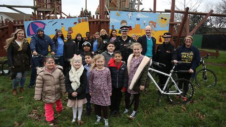 Superintendent Helen Isaac and PC Stuart Ford presented the former bikes to the Arc in the Park cent