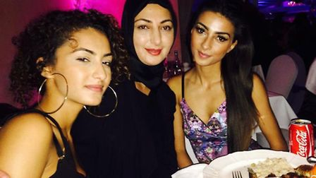 Sisters Melia Kaya, 19, right, and Elif Kaya, 16, left, with mum Demet Kaya, centre