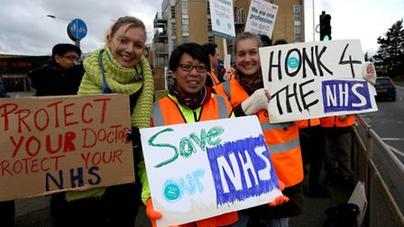 Junior Doctors on Stike outside Queen's Hospital in Romford. Lizzie Hobbs, Elaine Yip and Katherine
