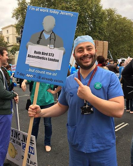 Simon Fleming attends the protest over junior doctor contract changes on Saturday 17 October 2015 (C