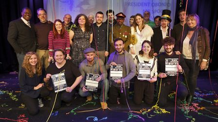 Comedian Bilal Zafar, 24, from Wanstead, bottom row, third from right, at the NATYS final. Picture:
