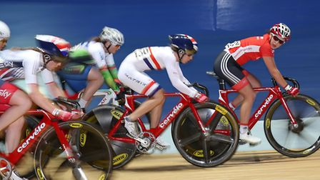 Laura Trott (second right) will retrun to the Lee Valley Veldrome next month (Pic: Martin Rickett/PA