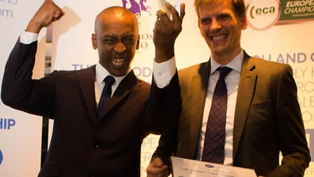 UK Dealers winner, Clayton Bourne with Aspers Casino Group Operations Director, Richard Smith.