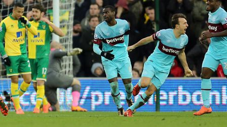 West Ham United's Mark Noble celebrates scoring his side's second goal of the game during the Barcla