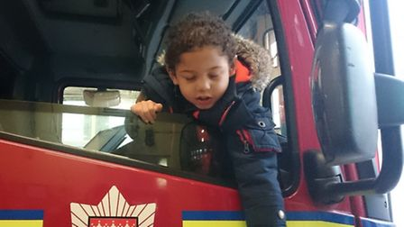Tommy loves a trip to the fire station with his dad (Photo: @Londonfire)