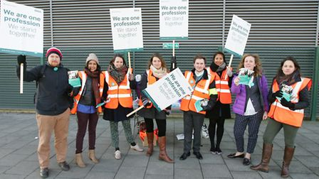 Striking Junior doctors on the picket line at the Queen's Hospital, Rom Valley Way, Romford.