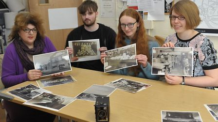Judith Garfield, Joshua Adams, Holly Gilson and Kirsty Parsons with photographs from Ilford film
