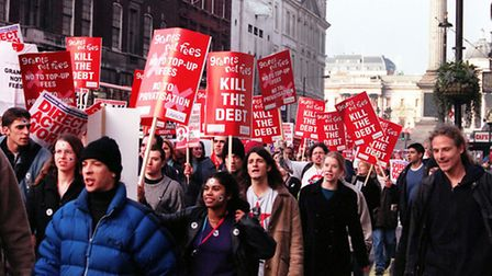 Students marched in 2000 to protest the replacement of grants with loans, along Whitehall in London.