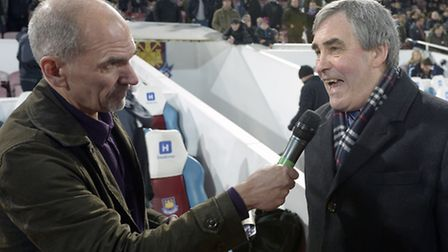 Tony Carr is interviewed at half time as West Ham pay tribute to their academy (pic: whufc.com)