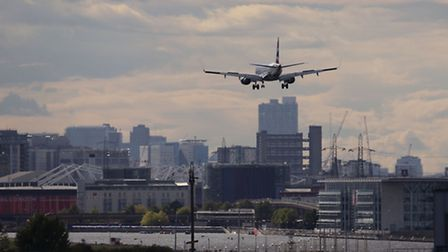A plane making a final approach to land at City Airport, in east London.