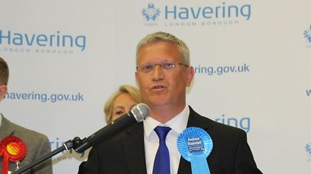 Andrew Rosindell delivering his victory speech after winning the Romford seat last year