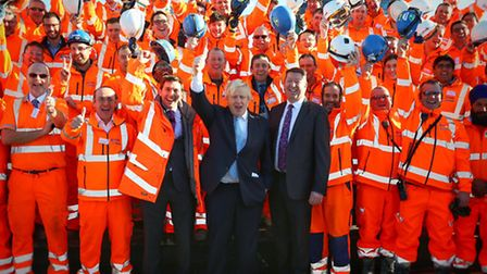 Boris Johnson with engineers and workers at Beckton Sewage Treatment Centre