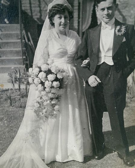 Max Page (Mendel Popinski) and his wife Eileen on their wedding day. Photo: Jef Page