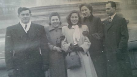 Far left, Mendel Popinski (aka Max Page) and wife Eileen with friends at Trafalgar Square after sett